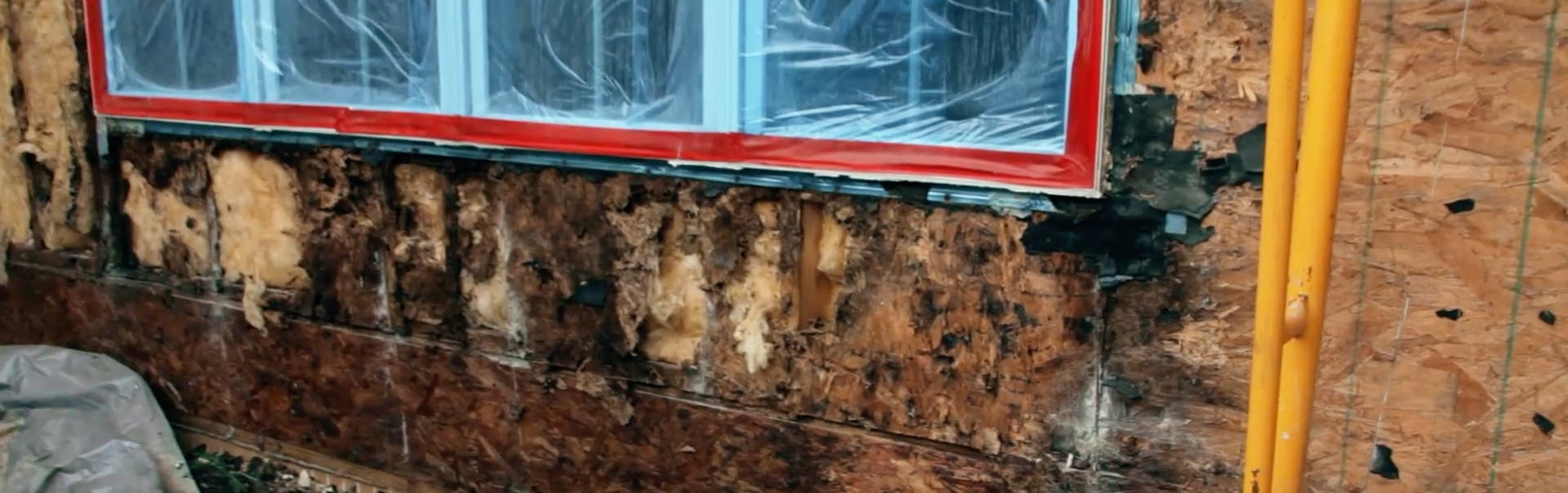 this is the damage found underneath the 'stucco tears'.